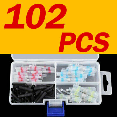 100×4 Sizes Solder Seal Heat Shrink Butt Wire Connector Terminal Waterproof Kit