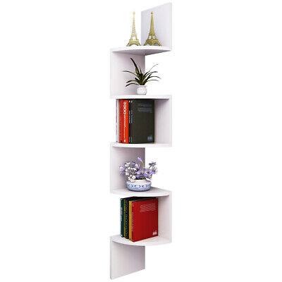 Wall Mount Corner Shelf Floating Shelves Storage 5 Tier Display Books Home Decor