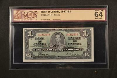 1936 Bank of Canada $1 One Dollar Coyne Towers BCS Graded Choice UNC 64