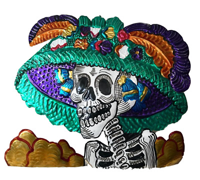 Mexican Milagros Charm Catrina with Mexican Hat - Mexican Wall Decor - Catrina w
