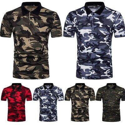Mens Camo Shirt Short Sleeve Top Casual Sports Slim Fit T-shirt Camouflage Tee