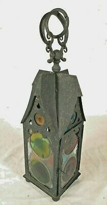 Antique Arts & Crafts Iron Hanging Lantern With Stained Glass Panels