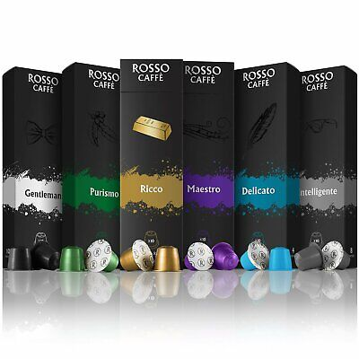 Rosso Coffee Capsules For Nespresso OriginalLine Machines Variety Pack (60 Pods)