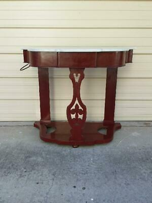 Antique Victorian Mahogany Marble Topped 1 Drawer Duchesse Washstand /Side Table
