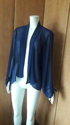 Jacques Vert, Chiffon Jacket, blue Size 14, Worn Once