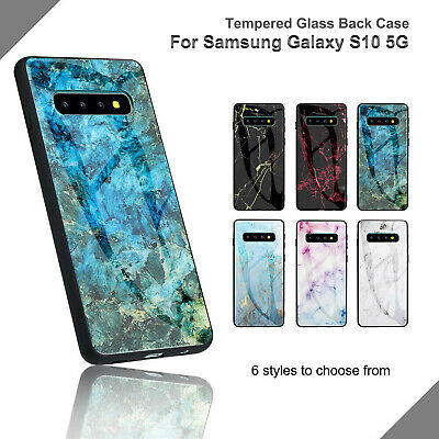 Slim Tempered Glass Back Marble Case Fr Samsung Galaxy S10 5G S8 S9 Note 9 Cover