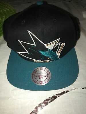 new concept 64073 82ce4 San Jose Sharks Black Teal Wool Mitchell   Ness NHL Retro Logo Snapback Hat  Cap
