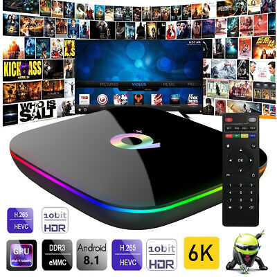 NEW Q Plus Android 8.1 Smart TV BOX 4GB+32GB H6 Quad Core 6K HD Media Player CA