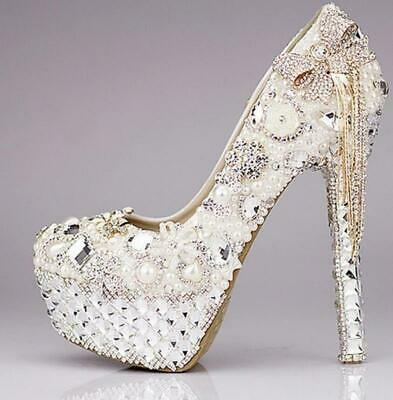 Women Bridal Bling Rhinestone Platform Pumps Tassel Wedding High Heel Shoes Sexy