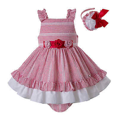 Romany Baby Girls Princess Dress Striped Infant Wedding Party Pageant Sleeveless