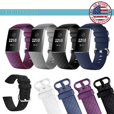 3 Pack For Fitbit Charge 3 Replacement Silicone Band Wristband Bracelet Strap