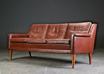 VINTAGE RETRO DANISH  THAMS  3 SEATER BROWN LEATHER SOFA 1960,s