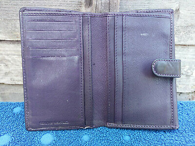 Womens Purple Leather Purse Money Notes Credit Card Coin Pocket
