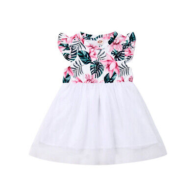 9c6e8435d19b US Infant Kid Baby Girl Cute Princess Floral Ruffle Lace Tulle Pageant Dress  New