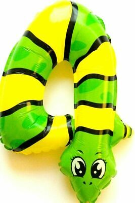 Not Helium Balloon Snake Animal Number 4 Foil Decoration Birthday Zoo Party
