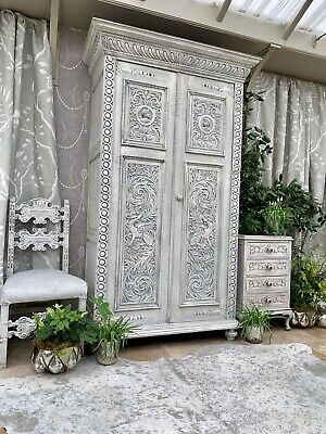 Large  French Antique Phoenix  Carvings Oak wardrobe Armoire Furniture