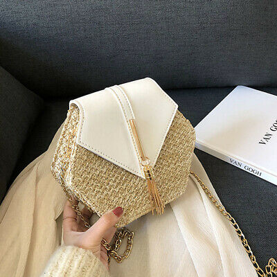 Women Summer Straw Shoulder Bags Rattan Bag HandWoven Beach Crossbody Handbag