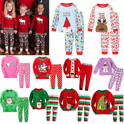 fca79dd65 Kids Boys Girls Xmas Pj's Sleepwear Nightwear Christmas Theme Pajamas  Outfit Set