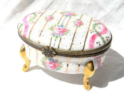 ANCIENNE FABRIQUE ROYALE Porzellan Pillen Schmuck Dose Porcelain Floral Patterns