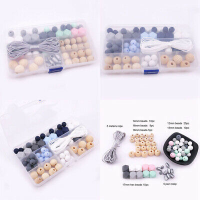 Teething Silicone Beads Wooden Beads Kit DIY Baby Chew Necklace Jewelry Making