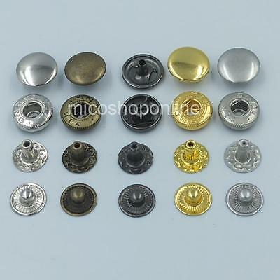"""3/8"""" 1/2"""" 5/8"""" 10 12 15m Rapid Rivet Button Snap Fasteners Leather craft KAM"""