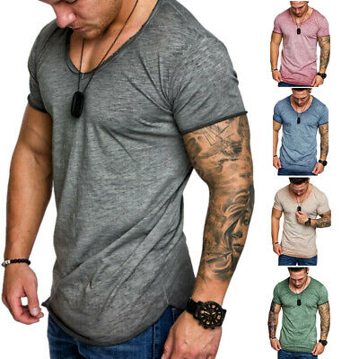 Men's V Neck Slim Fit T-Shirt Casual Short Sleeve Muscle Tee Tops T-shirt Blouse