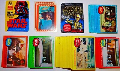 Topps 1977-78 110+ Star Wars bubble gum trading cards S1-5, S1 blue card wrapper