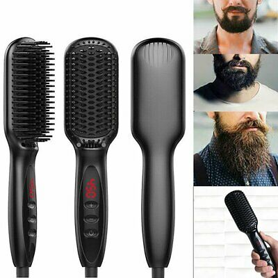 Quick Beard Straightener Multifunctional Hair Comb Curler For Man + Disp QC