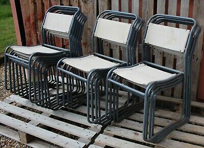 Set of 8 Cox Steel & Canvas Vintage Stacking Chairs. Good condition.