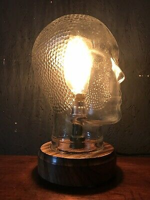 Vintage Glass Mannequin Head Repurposed Into A Great Lamp - PAT Tested