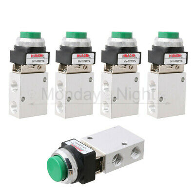 "5PCS 3 Way 2 Position Pneumatic Valve PT 1/4"" Push Button Actuator"