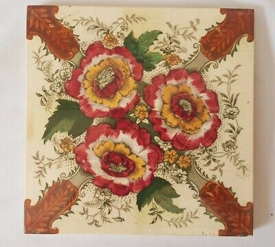 english FLORAL DESIGN 6 INCH ANTIQUE TILE. VERY ELEGANT