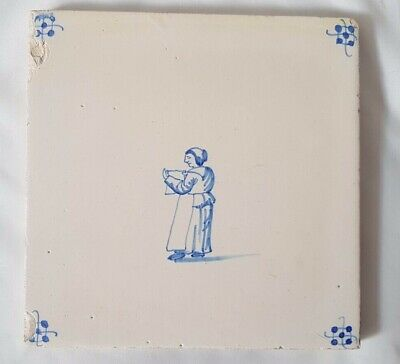 Charming Antique Delft Tile With Female Figure
