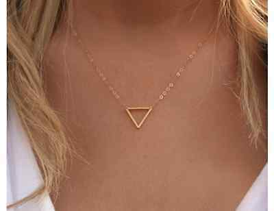 Chaîne pour Femme,Collier or Argent Neuf Triangle Simple Style Blogger Court
