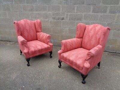 Pair Of Victorian Good Size Wing Chairs On Cabriole Legs  Ball And Claw S Fronts