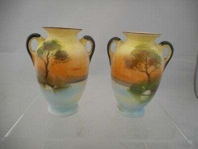 Pair of Antique Noritake Japanese Small Twin Handled Vases with Swan Decoration