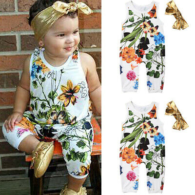 94eb1bf4f Newborn Baby Boys Girls Headband Clothes Outfits Floral Romper Bodysuit  Jumpsuit