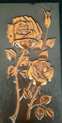 Vintage  Hand Made Copper  Rose Wall Hanging