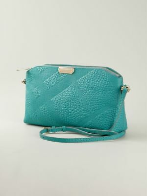 bf3996aaa40 Burberry Chichester Grain Check Embossed Leather Clutch Crossbody Bag, Blue