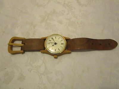 "Authentic Wood Wrist Watch wall or table display 15 ¼""L Handcrafted Quartz USA"