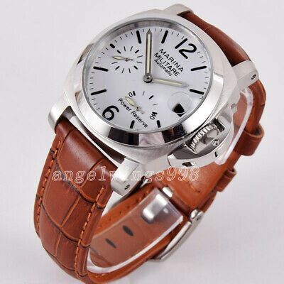 40mm seagull Power reserve white dial parnis polished bezel date automatic watch