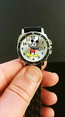 Disney Accutime Mickey Mouse Watch Black Rubber Band  New Battery