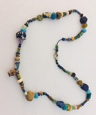 Ancient Egyptian/Roman Necklace, Glass & Stone Beads - Proceeds Dog Rescue