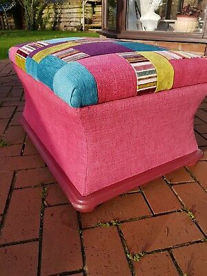GORGEOUS fully restored and upholstered  in bright colours Victorian ottoman