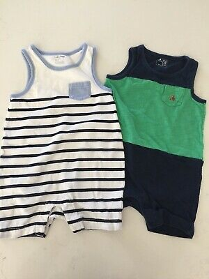 Set of 2 Baby Gap Boys Striped Sleeveless Rompers 6-12 months