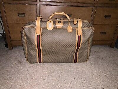 Auth Gucci Monogrammed GG Green Red Signature Leather Suitcase Hand Bag