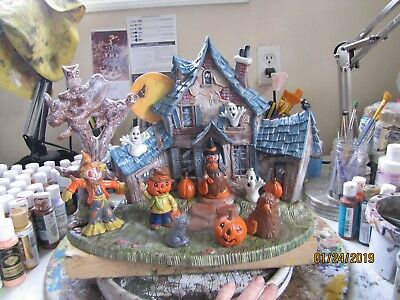 Ceramic Bisque Hand-Painted Halloween Village Scene With Base & Accessories, 15""