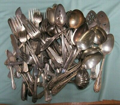 Huge Lot of Antique/Vintage Silver Plated Flatware / Silverware, 7.55 LBS.