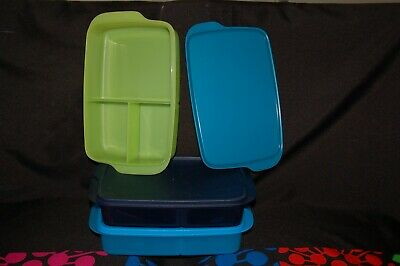 """TUPPERWARE rectangular divided lunch box 10x6x2"""" bento large lunch 4 cup it"""