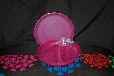 """Tupperware small serving center 4 compartments 10"""" diameter w/ 4oz dip snack cup"""